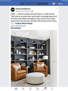 Hidden Storage, Toy Storage, Painting Bookcase, Leather Swivel Chair, Crate And Barrel, Crates, Lounge, Shelves, Room