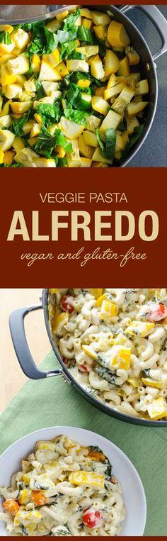 Veggie Pasta Alfredo - you'd never guess this delicious cheesy recipe is vegan and gluten-free   VeggiePrimer.com
