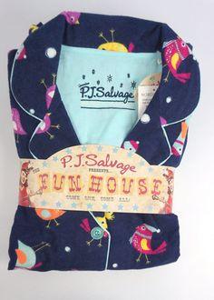 40974151da PJ Salvage Fantastic Flannels Ink Blue Birds Pajama Set Size M MNFLAPJ   PJSalvage  PajamaSets