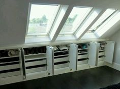 Under eaves storage idea-shelves and drawers - for the upper part of the attic Attic Loft, Loft Room, Bedroom Loft, Loft Bed Room Ideas, Shoe Storage Ideas Bedroom, Eaves Bedroom, Loft Closet, Mezzanine Bedroom, Loft Ideas