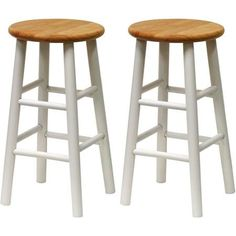 "Beech Wood Counter Stools 24"", Set of 2, White and Natural - Walmart.com"