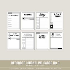 This set of eight digital journaling cards is perfect for pocket page protectors, scrapbooking and mini-books. Included in this set are individual high resolution .png files and two printable .pdf pages.This set contains: 8 - 3x4* Journaling cards *actual size of cards is 2.95x4 to comfortably fit Project Life page protector pockets<i>Looking for the other sets in this series