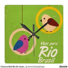 Cartoon Bird Rio De Janeiro Vintage Poster Square Wall Clock