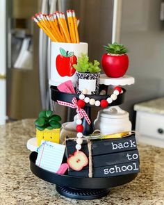 """This """"back to school"""" 3 book stack is the perfect addition to you fall decor! Reclaimed books and hand stamping and painting make each stack unique! Perfect for fall displays, tiered trays and more! Seasonal Decor, Fall Decor, School Decorations, September Decorations, School Centerpieces, Holiday Decorations, Holiday Ideas, School Tables, School Chalkboard"""