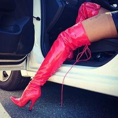 Hot pink thigh boots