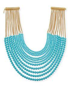 Y436K Rosantica Raissa Multi-Strand Beaded Necklace, Turquoise