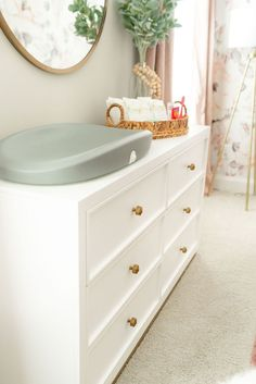Nursery with white dresser & gray table top changer White Dresser Nursery, Baby Dresser, Dresser Table, Baby Room Design, Baby Room Decor, Bedroom Decor, White Furniture, Rustic Furniture, Furniture Design