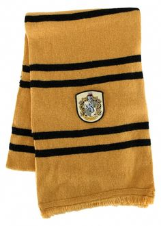 Hufflepuff Deluxe Scarf - Be part of the Cedric Diggory Hufflepuff clan in this officially licensed Scarf. Made from 100% lambs wool it is a nice collectors piece for your Harry Potter fan. #yyc #harrypotter #scarf #costume