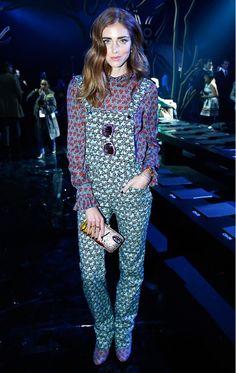 Chiara Ferragni opted for print-on-print at the Elie Saab F/W 15 Show at Paris Fashion Week