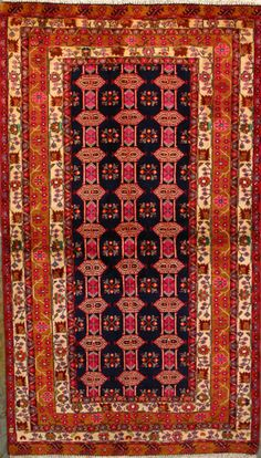 "Torkaman Persian Rug, Buy Handmade Torkaman Persian Rug 6' 9"" x 3' 9"", Authentic Persian Rug"
