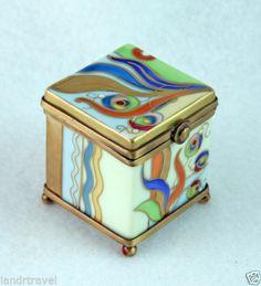 NEW FRENCH LIMOGES BOX GORGEOUS ART NOUVEAU STYLE CUBE CHEST W AMAZING DESIGN