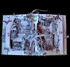 Peter Pan book art by Kelly Campbell Peter Pan Book, Illustration Story, Art Illustrations, Altered Book Art, Book Sculpture, Paper Sculptures, Cool Books, A Level Art, Classic Books