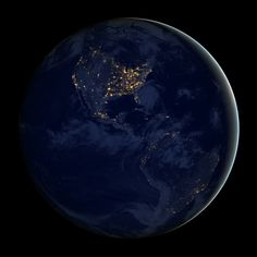 City Lights of the Americas - This image of North and South America at night is a composite assembled from data acquired by the Suomi NPP satellite in April and October 2012. The new data was mapped over existing Blue Marble imagery of Earth to provide a realistic view of the planet.