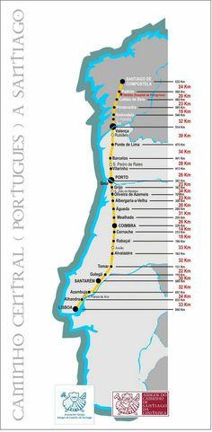Mapa do Caminho Central Português a Santiago (publicado originalmente pelo albergue de peregrinos da Mealhada)