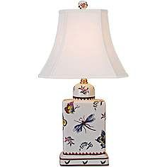 Butterfly Multicolor Porcelain Tea Jar Table Lamp