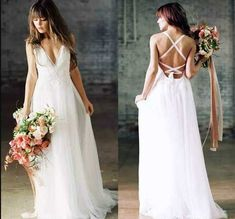 2019 Boho Wedding Dress, Sexy Beach Wedding Dress, Chiffon V Neck Floor Length Beach Bridal Gown sold by MissZhu Bridal. Shop more products from MissZhu Bridal on Storenvy, the home of independent small businesses all over the world. Bohemian Beach Wedding Dress, Boho Wedding Dress Backless, Wedding Dress Chiffon, Custom Wedding Dress, Sexy Wedding Dresses, Cheap Wedding Dress, Wedding Gowns, Wedding Veil, Wedding Reception