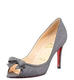 Christian Louboutin Milady Flannel Peep-Toe Pump $205,