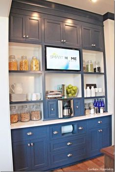Feature Friday: The HGTV Smart Home in Nashville, TN – Southern Hospitality Love this for a Butler's Pantry. On either side of the coffee pot those pull out to hold supplies. Kitchen Built Ins, Built In Pantry, Kitchen Hutch, Kitchen Nook, Kitchen Shelves, Kitchen Pantry, Kitchen And Bath, Kitchen Furniture, New Kitchen
