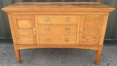 EDWARDIAN LARGE LIGHT OAK SIDEBOARD BASE