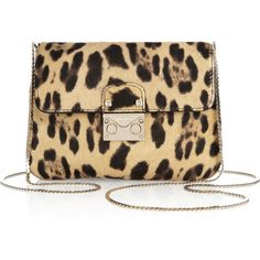 Valentino Leopard-print calf hair shoulder bag ($600) ❤ liked on Polyvore