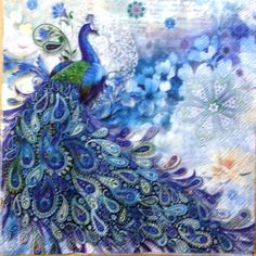 TWO Peacock Paper Luncheon Napkins for Decoupage and Paper Crafts