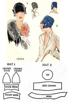 Vintage Sewing Patterns, Clothing Patterns, 1920s Hats, Costume Hats, Turban Hat, Moda Vintage, Pattern Drafting, Hat Making, Mode Inspiration