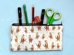 Otter pencil pouch - quirky pencil case - otter gift - unique otter print fabric - back to school - stationery gift - brown otter zip pouch Pencil Pouch, Pencil Cases, Back To School Stationery, Peg Bag, Cool Journals, Unique Gifts, Handmade Gifts, Journal Layout, Otter