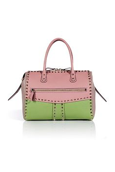 Grass Green/Pink/Powder Pink Leather Rockstud Tote by VALENTINO | Luxury fashion online | STYLEBOP.com