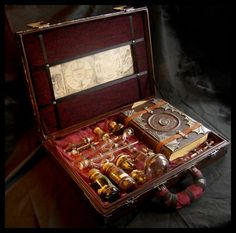 "This Alchemist's Box is a wonderful piece of work by ""Zombie Armadillo"". I love the neatly ranked collection of ingredient bottles and glassware all held in place by leather straps, but the detail work on the Alchemist's Tome really stands out."