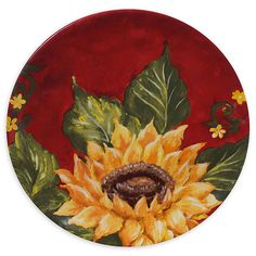 Brighten your table setting with a colorful look with the Sunset Sunflower Salad Plates by Certified International. Featuring magnificent sunflower blooms set against a rich red background, these elegant ceramic plates add a wow factor to any meal. Sunflower Art, Sunflower Design, Autumn Painting, Tole Painting, Pottery Painting Designs, Rock Painting Ideas Easy, Cottage Art, Halloween Painting, Plate Sets