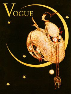 Vogue High Fashion Lady Girl in The Moon Stars Ad Vintage Poster Repro Free s H   eBay