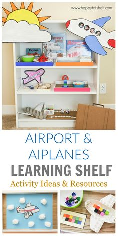 Airport & Airplanes Learning Activities for toddlers and preschoolers Transportation Preschool Activities, Airplane Activities, Airplane Kids, Transportation Theme, Montessori Activities, Kindergarten Activities, Infant Activities, Activities For Kids, Airplane Games