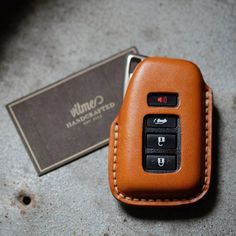 Handmade leather key for Lexus with name stamping service. Thank you for your support. Leather Art, Custom Leather, Leather Design, Leather Tooling, Handmade Leather, Leather Keychain, Leather Wallet, Leather Workshop, Key Case