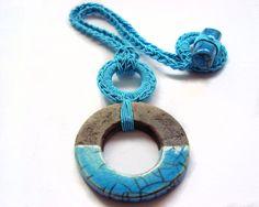 Raku pendant necklace / Turquoise ceramic by AliquidTextileJewels