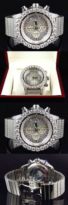 Other Mens Jewelry 177770: Iced Out Stainless Steel Simulated Diamond Watch White Gold Finish 48Mm Br-02 BUY IT NOW ONLY: $429.99