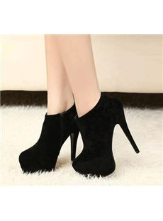 Concise Sexy Black Stiletto Ankle Boots