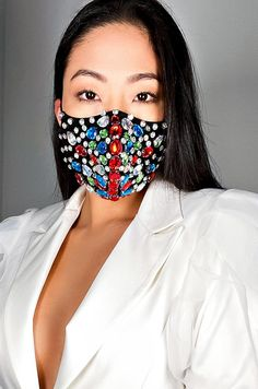 The Bow Down Rhinestone Fashion Face Cover features rhinestone detailing. *These masks are purely accessories and do not provide medical protection. Nose Mask, Diy Face Mask, Face Masks, Mouth Mask Design, Tapas, Ladies Poncho, Chicago Fashion, Clear Face, Beauty Full Girl