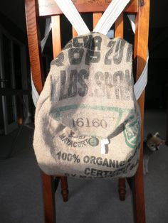 Made this burlap backpack out of a coffee bean sack.  Had to empty out the beans and dust from the bag before washing it.  She gets compliments on it every day at university.