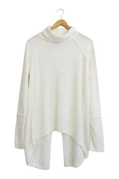 Free People  White Turtleneck Sweater  Split Back  Long Sleeved  Fits True to Size  Also Available in Charcoal