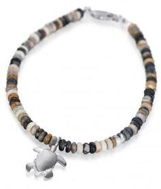 Reef Jewellery - Small Silver Turtle Pendant on Picasso Jasper Bead Bracelet - Scuba Diving