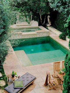 Estimate the quantity of concrete decking you'd like around the pool. A pool is the best backyard amenity. A little swimming pool is a good idea if we've limited space but still want to… Small Backyard Pools, Small Pools, Backyard Landscaping, Backyard Designs, Small Patio, Small Backyards, Backyard Ideas, Landscaping Ideas, Small Pool Ideas