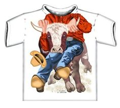 Steer Wrestler shirt-White-3T Design printed to the top of the collar. 100% Cotton. Super soft. Machine washable.  #Justaddakid #Apparel
