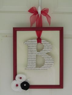 I just finished this project with a re-purposed frame and I typed our name over and over to print for the letter B.