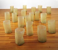 "Sculpture by Eva Hesse, titled ""Repetition Nineteen III"" (1968) and exhibited at the Jewish Museum NY."