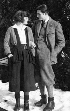 Ernest and Hadley Hemingway in Chamby, Switzerland, 1922. His 1st wife who the book THE PARIS WIFE is about.