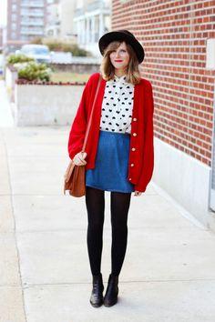 nyc fashion blog, nyc vintage fashion blog, vintage fashion blog, red vintage cardigan, heart blouse, denim circle skirt, long beach ny blog