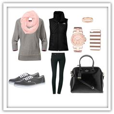 A great everyday casual outfit. Grey sweatshirt and skinny jeans dressed up with a pink scarf, rose gold accessories, kate spade purse and vans sneakers for a c...