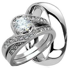 3 PCS HIS and HERS Mens Womens STERLING SILVER STAINLESS STEEL WEDDING RINGS SET