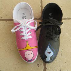 Hand Painted Shoes - Adventure Time - Princess Bubblegum and Marceline
