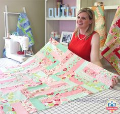 The Jelly Roll Jam Quilt Pattern, free from Fat Quarter Shop!  Watch our instructional video to see how you construct this quilt!